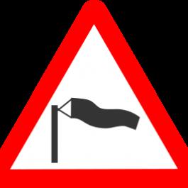 grafika z rękawem wiatrowym, wpisana w czerwony trójkąt - Kliknięcie w obrazek spowoduje wyświetlenie jego powiększenia